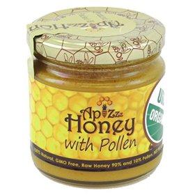 Apizzz Honey 100% Natural, Grade A, GMO Free, USDA Organic Raw Honey with Bee Pollen 250g (8.82oz)