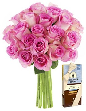 Bouquet of Long Stemmed Pink Roses (Dozen and a Half) and Scharffen Berger Chocolate – Without Vase