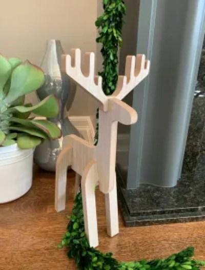 standing wooden deer