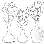 Three pots with flowers coloring page