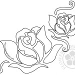 Printable Two Roses Outline