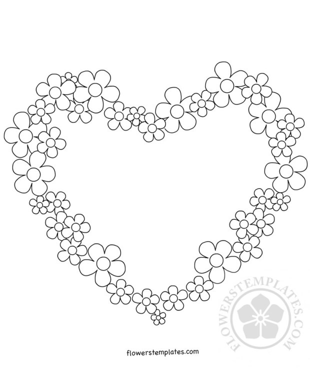 Flower Heart Frame Coloring Page