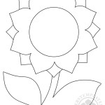 Sunflower with leaves template