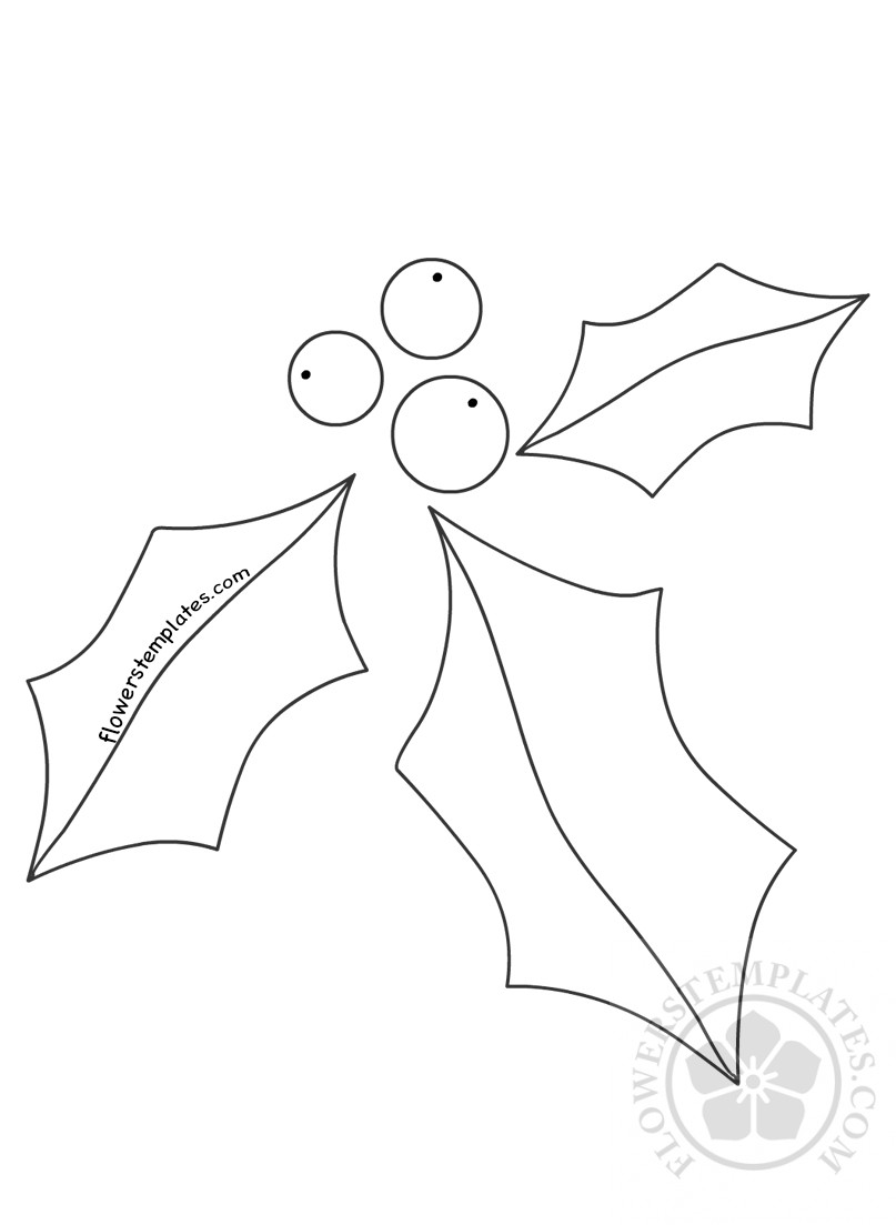 Holly Leaves Berries Craft Christmas Shape | Flowers Templates