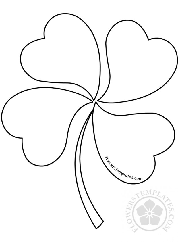 four leaf clover pattern coloring page flowers templates