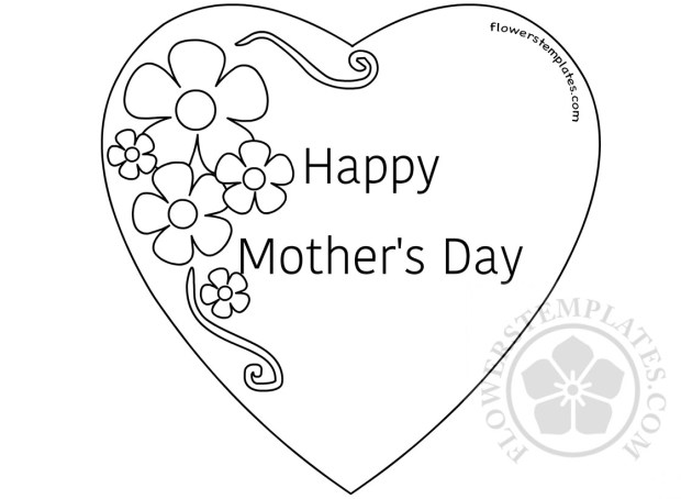 Happy Mothers Day Heart with Flowers