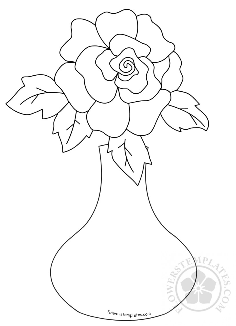 Rose Flower In Vase Coloring Page Flowers Templates