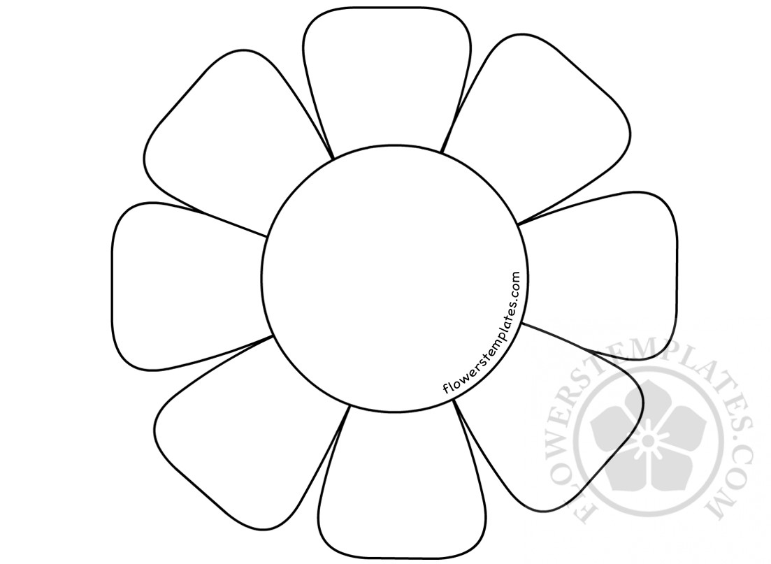 Flower with 8 petals coloring page | Flowers Templates