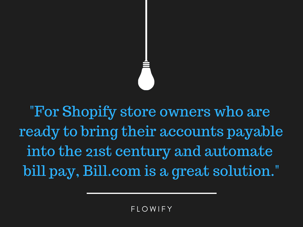 Bill.com another shopify accounting tool Flowify