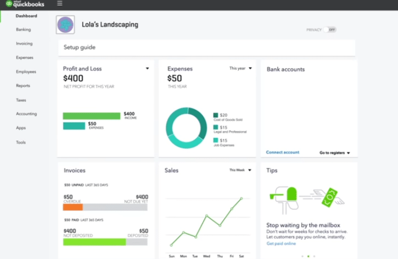 QuickBooks dashboard shopify accounting