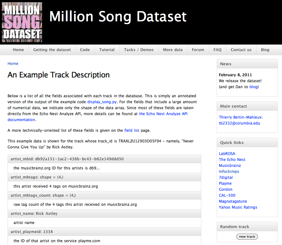 Million song dataset available for download | FlowingData