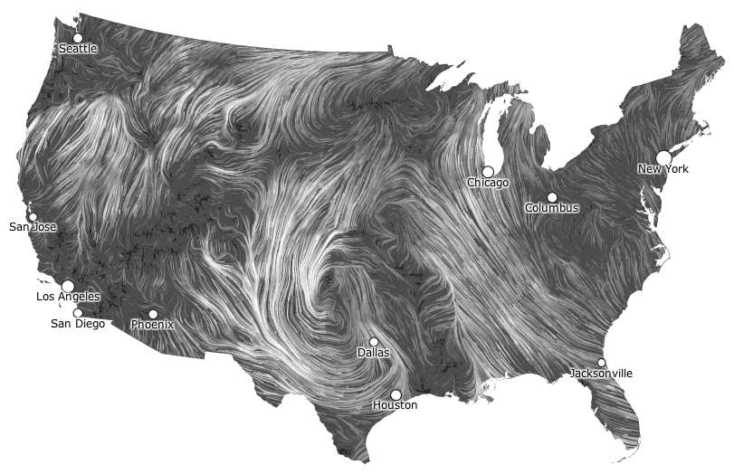Live Wind Map Shows Flow Patterns FlowingData - Us air flow map