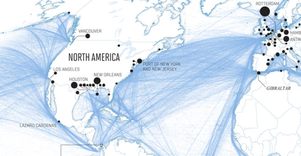 Global Shipping Network FlowingData - Network map page