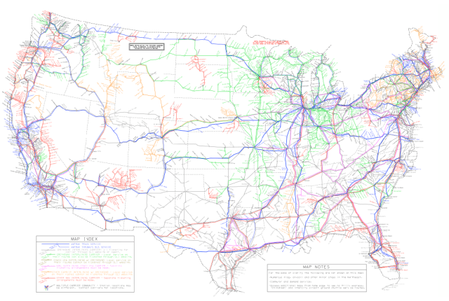 Map: US bus and Amtrak routes