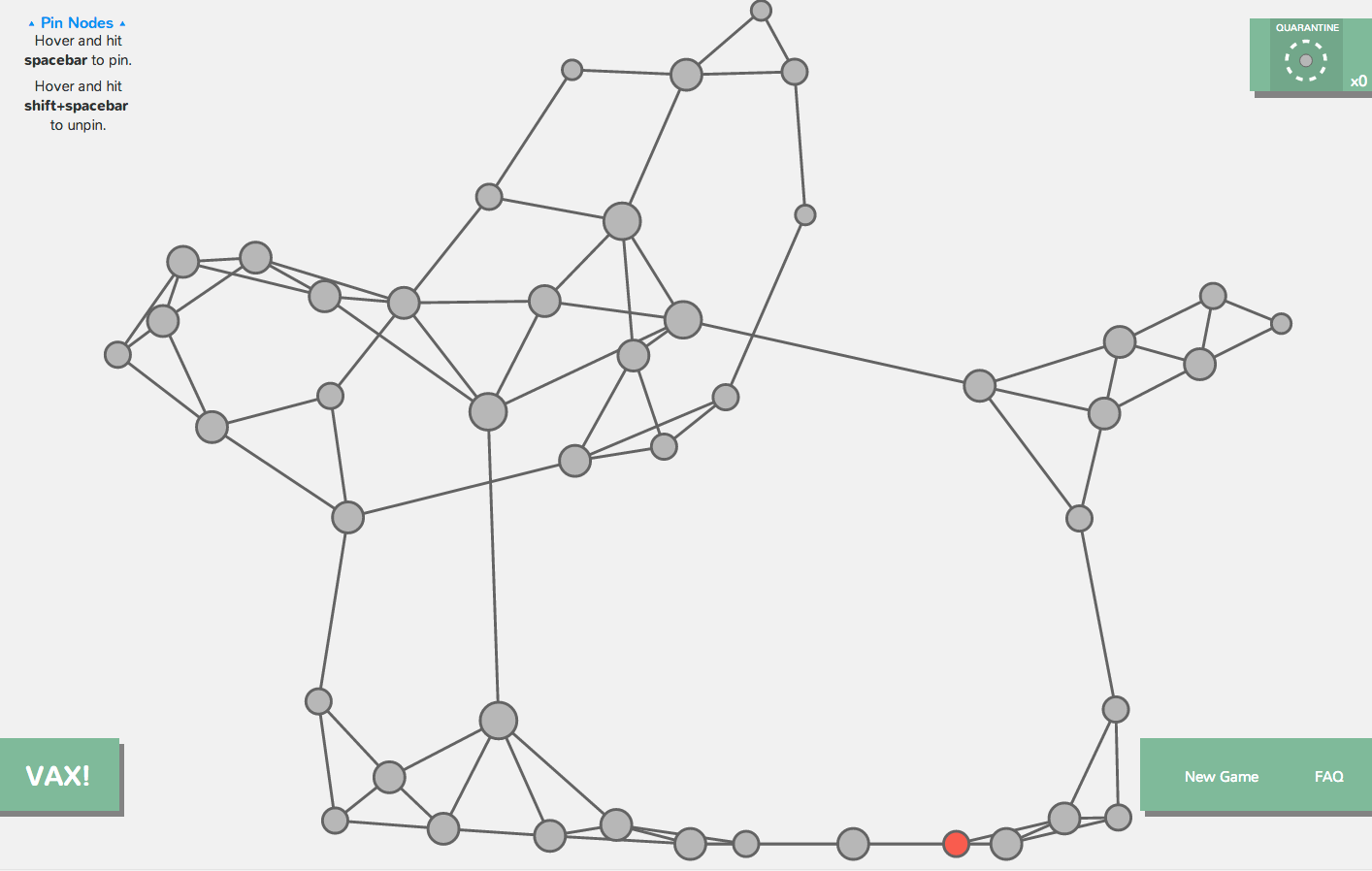 Network visualization game to understand how a disease