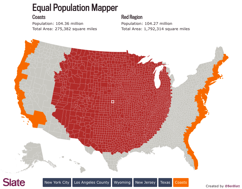 The US Map Redrawn As 50 States With Equal Population Mental Floss