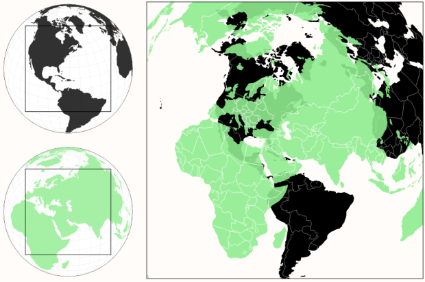 A more realistic perspective of country sizes | FlowingData