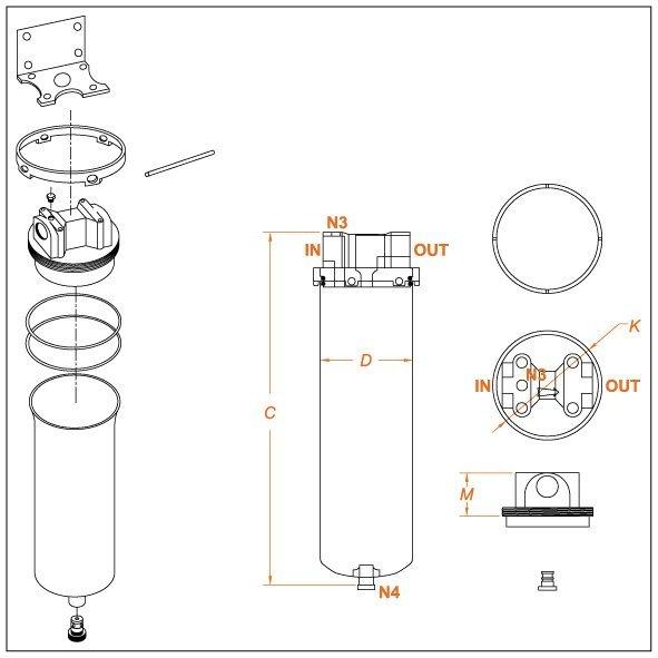 Filtri a Bicchiere Inox Flowise Filtri_disegno tecnico