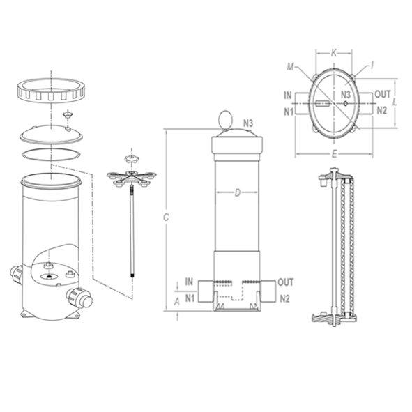 filtri pvc multi cartucce filtranti Flowise scheda tecnica