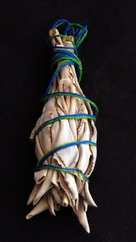 "Smudging, purification, cleansing, healing-USA/Mexico-Native American-Dried sage with blue and green string-4 1/2"" long"