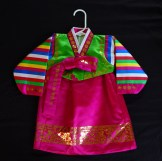 """One year birthday celebration costume-Korea-Korean-Satin and gold stamping, on satin-lining polyester-21""""-long, width at sleeves 31"""", width at skirt 16"""""""
