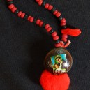 "Protection-Mexico/USA-Mexican/Indigenous-Velvet bean or cowhage (Mucuna pruirens), red pom pom, photo of Mary and Jesus-4"" long"