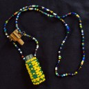 """Carries magical substances-Haiti-Voodoo (Voudun)-Beads/Glass/Wood/String-14 1/2"""" long, container 2 1/2"""" long"""