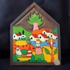 Decorative folk art with pastoral scene