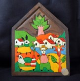 "Decoration-El Salvador?-Salvadoran?-Paint on wood-6 1/4"" x 4 3/4"""