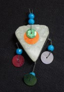 """Protection from Evil Eye-Lebanon? Syria?-Middle Eastern-Blue beads/Heart-shaped crystal/Sequins-2 1/2"""" x 1 1/2"""""""