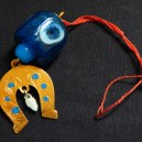 """Good luck and protection from evil eye-Armenia-Middle Eastern-Glass and metal-3"""" long"""