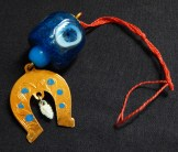 "Good luck and protection from evil eye-Armenia-Middle Eastern-Glass and metal-3"" long"