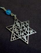 Satirical rosary with Jewish symbols (close-up of Jewish Star and symbols of the Twelve Tribes)