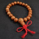 Prayer counter-Tibet-Tibetan Buddhism-21 brown beads/red string-4 3/4""