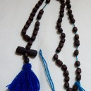 Prayer counter-Southeast Sonora, Mexico, and Southwest USA-Catholic/Yaqui Indians-5 sets of 10 wooden beads/Blue string/Royal blue tassel-12""