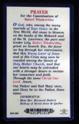 Prayer Card for Kateri Tekakwitha (reverse side)
