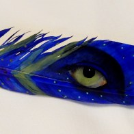 Hand painted feather by Marie Hughey