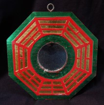Eight sided hanging object with mirror in center (Bagua)