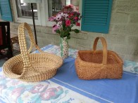 On the left is a Gullah sweetgrass basket, the only African basket type made in the U.S., and on the right a split white oak basket, common among Anglo basket makers in many parts of the U.S. Both types were working baskets in the 18th and 19th century and have evolved into collectibles that have found their way into scholarly publications and museums. I came by both baskets through serendipity.