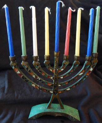 "Part of Hanukkah celebrations-Israel-Global-Metal/enamel-7"" x 7 1/2"" (candles-3 3/4"" tall)"