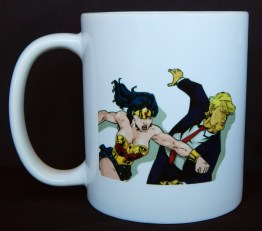 Cup with images of Wonder Woman and Donald Trump-FLK515