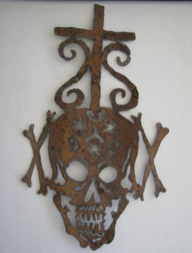 Composition with Cross and Skull (2012) New Orleans, Louisiana. Jack Wittenbrink. Recycled Roofing Tin. (10 x 7)