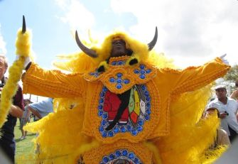 New Orleans, March 18 2012) Wild Man of the Comanche Hunters suits up and greets the day on Super Sunday.
