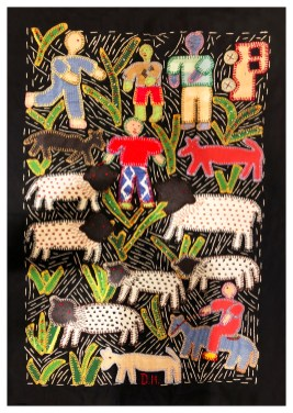 "Circa 2010 16"" by 11.5"" An example in the Mapula embroidery tradition of South Africa by Doris Hatswayo. For more information on this textile tradition, see Schmahmann, Brenda M. Mapula: Embroidery and Empowerment in the Winterveld."