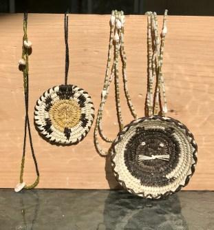 Tohono O'odham Basket and Shell Necklaces-By Christine Johnson, No:liwk, AZ., c. 2006.