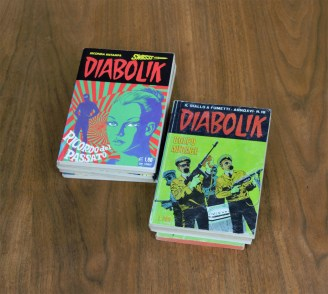 Copies of  Diabolik, personal collection. Published in Milan, Italy, from 1969 to 1996 (including reprints). Photo by Dante Goldstein Ruberto.