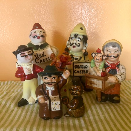 "Miscellaneous Cheese and Salt & Pepper Shakers, 1950s, ceramic, cork stoppers, metal, paint Varying dimensions from 6"" (tallest) to 3¼"" (shortest), not including monkeys"