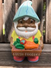 I purchased this fellow at Target. I couldn't resist him as he is one of the few non-white gnomes I've seen. It seems likely that the famous 1976 Dutch book Gnomes, by Wil Huygen and Rien Poortvliet has become so iconic that gnome manufacturers only view them as looking rather white. On the other hand, there may be concern that creating gnomes of various ethnicities may be viewed as non-traditional or perhaps patronizing. In any case, as a non-human, fantasy creature, I'm fairly certain gnomes can evolve into whatever we want or need them to be. I'm hoping that gnomes become more diverse in terms of gender and ethnicity. After all, they do reflect us or at least our tastes, our fears, our senses of humor. The reflection may as well be more or less accurate – zombie gnomes excluded of course.