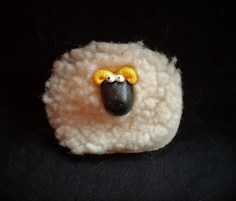 "Purchased in Cork Ireland 2006. Materials: plastic, synthetic fleece, magnet. Dimensions: 2.5"" x 2.25"" This sheep magnet was purchased in Cork Ireland. The head is hard plastic and the body is just a scrap of synthetic fleece. I remember giggling when I saw it over how perfect a representation of a sheep it is."