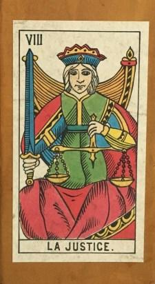 Tarot Cards (Justice), Classico Tarocco di Marsiglia, Ed. Il Meneghello, Milano, 1988 (2.5 x 4.5 in.)